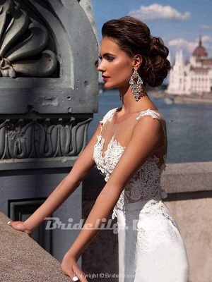 Chicloth Popular Appliques Sweep Train Mermaid Wedding Dresses_5