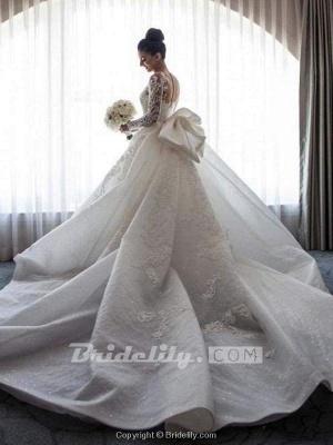 Chicloth Long Sleeves Lace Mermaid Wedding Dresses_4