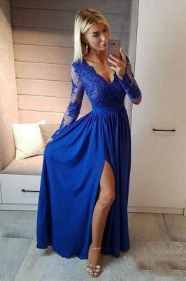 Chicloth Royal Blue V Neck Long Sleeve Prom Floor Length Split Evening Dress with Lace_1