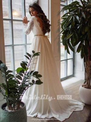 Chicloth Glamorous Long Sleeves Sashes Ruffles  Wedding Dresses_2