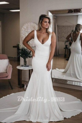 Chicloth Simple V Neck Mermaid with Long Train Sexy Backless Beach Wedding Dress_3