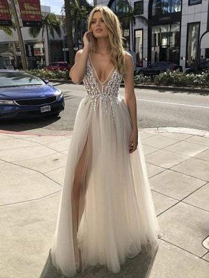Chicloth Graceful High Split V-neck Sequins Tulle Wedding Dresses_1