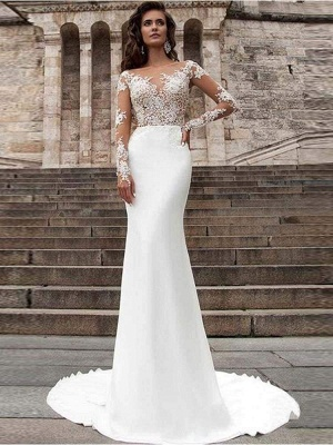 Chicloth Glamorous Long Sleeves Appliques Mermaid Wedding Dresses_1