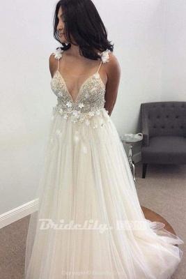 Chicloth Deep V-neck Beading Straps Tulle Appliques A-line Custom Beach Wedding Dress_9