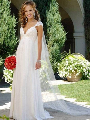 Chicloth Fashionable V-Neck Cap Sleeves Lace-Up Ruffles Wedding Dresses_1