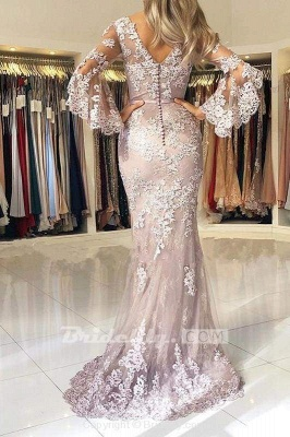 Chicloth Charming V Neck Long Prom Mermaid Lace Appliqued Evening Dress with Sleeves_2