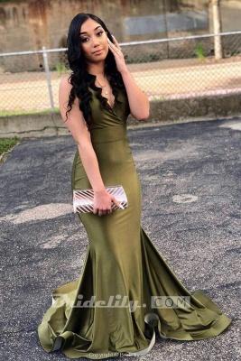 Chicloth Attractive Green V Neck Floor Length Mermaid Prom Dresses_2