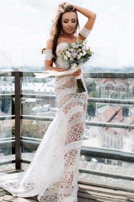 Chicloth Amazing Sweetheart Neck Lace Beach Boho Wedding Dress_1