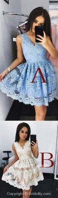 Chicloth Cute Mini V-Neck Blue Homecoming Lace Appliqued Short Prom Sweet 16 Dress_2