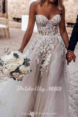 Chicloth Boho Sweetheart Tulle Long Beach Charming Appliques Wedding Dress_4