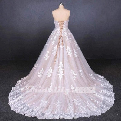 Chicloth Puffy Strapless Tulle with Appliques Long Train Lace Up Wedding Dress_6