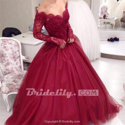 Chicloth Burgundy Off the Shoulder Sleeve Applique Tulle Evening Long Prom Dress_4