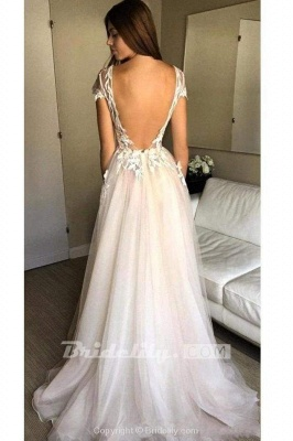 Chicloth Cap Sleeve Deep V-neck With Appliques Sexy Split Tulle Wedding Dress_2