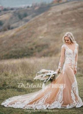 Chicloth Amazing Long Sleeves Boho Lace Appliques Wedding Dress_6
