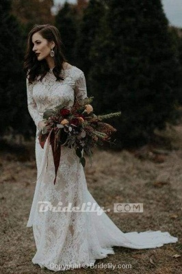 Chicloth Vintage Long Sleeves Backless Rustic Lace Wedding Dress_5
