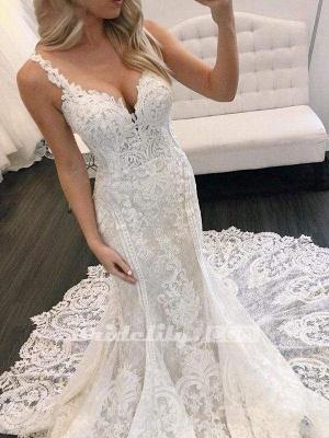Chicloth Gorgeous Straps Mermaid Train Lace Wedding Dress_3