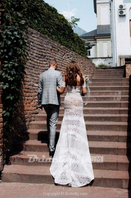 Chicloth Amazing Sweetheart Neck Lace Beach Boho Wedding Dress_2