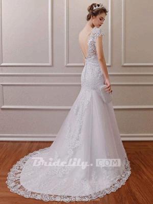 Chicloth Affordable V-Neck Short Sleeves Lace Mermaid Wedding Dresses_3