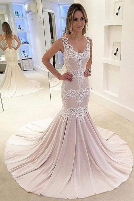 Chicloth Mermaid Appliqued Sleeveless Gown Chiffon Sexy Backless Wedding Dress_1