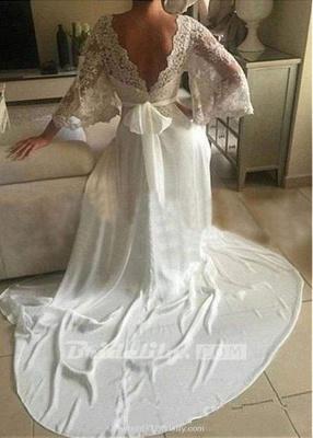 Chicloth Romantic Boho V Neck Lace Appliques Chiffon Long Beach Wedding Dress_2