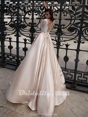 Chicloth Vintage Half Sleeves Lace Satin Wedding Dresses_3