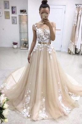 Chicloth A-line Bateau Lace Appliqued Gold Sash Short Sleeves Wedding Dress_1