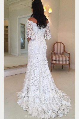 Chicloth White Off the Shoulder Half Sleeves Sweep Train Lace Wedding Dress_2