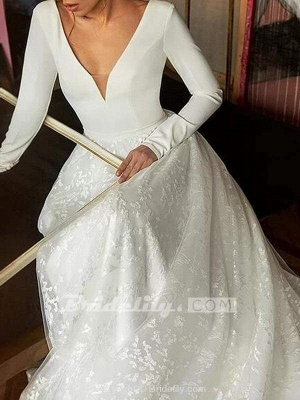Chicloth Elegant V-Neck Covered Button A-Line Wedding Dresses with Long Sleeves_2