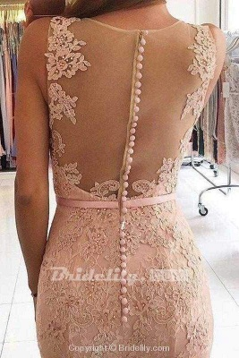 Chicloth Pink Sleeveless Formal Dresses Mermaid Sheer Back Lace Prom Gown_2