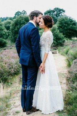 Chicloth Floor Length Chiffon Beach Lace Backless Wedding Dress_5