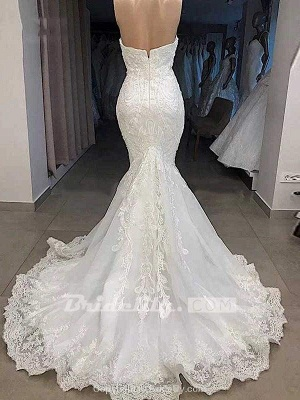Chicloth Elegant Sweetheart Short Sleeves Lace Mermaid Wedding Dresses_2