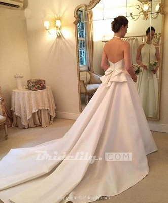 Chicloth A Line Halter Satin Simple Backless Sleeveless Wedding Dress with Bow_6