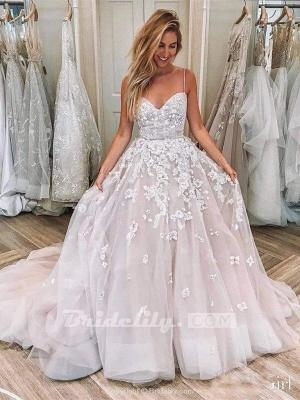 Chicloth Spaghetti Strap Sleeveless Lace Applique Puffy Long Wedding Dress_2