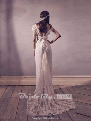 Chicloth Gorgeous V-Neck Cap Sleeves Lace A-Line Wedding Dresses_2