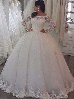 Chicloth Elegant Bateau Long Sleeves Lace Ball Gown Wedding Dresses_1