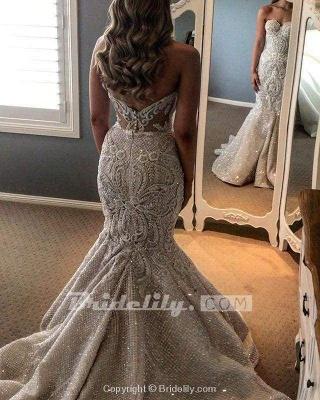 Chicloth Gorgeous Shiny Beading Lace Strapless Overskirt Wedding Dresses_2