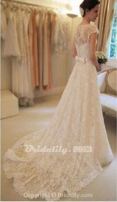 Chicloth Cap Sleeve Lace Long With Court Train Ivory Beach Wedding Dress_2