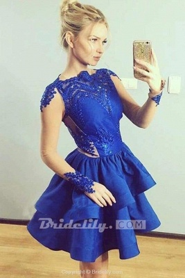 Chicloth Tiered Long Sleeves Royal Blue Satin Homecoming with Appliques Mini Prom Dress_2