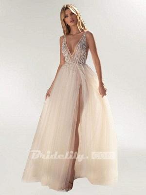 Chicloth Graceful High Split V-neck Sequins Tulle Wedding Dresses_2