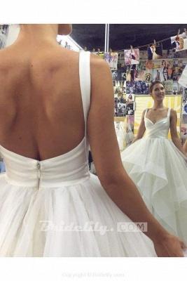 Chicloth Puffy Straps Long Beach Unique Cascading Ruffles Wedding Dress_2