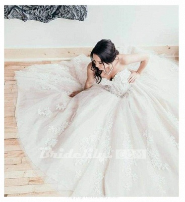 Chicloth Floor Length Sweetheart Tulle Wedding with Lace Appliques Long Dress_4