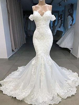 Chicloth Elegant Sweetheart Short Sleeves Lace Mermaid Wedding Dresses_1