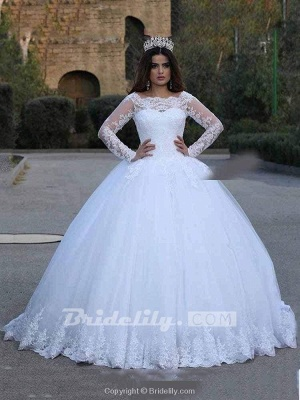 Chicloth Long Sleeves Lace Appliques Wedding Dresses_2