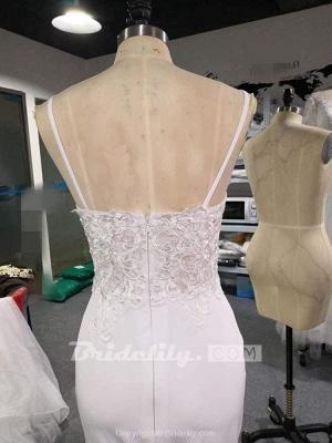 Chicloth Spaghetti-Strap V-Neck Mermaid Wedding Dresses_2