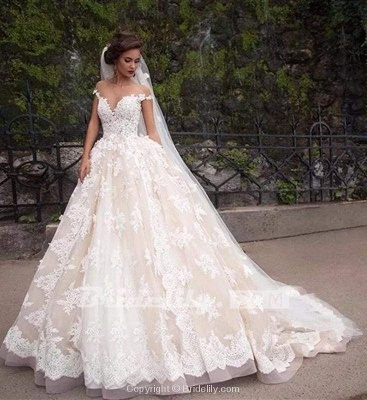 Chicloth Gorgeous Sheer Neck Cap Sleeves Lace Appliques A Line Wedding Dress_7