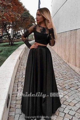 Chicloth Two Piece Prom Long Sleeves Floor Length Evening Dress with Lace_2