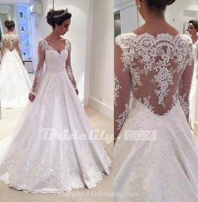 Chicloth Elegant A-line V Neck Long Sleeves Wedding Dress_2