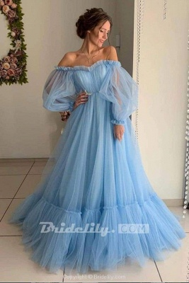 Chicloth A Line Sleeve Off the Shoulder Long Prom Blue Tulle Floor Length Formal Dress_2