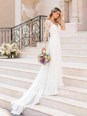 Chicloth Modest V-Neck Long Sleeves A-Line Ruffles Wedding Dresses_2