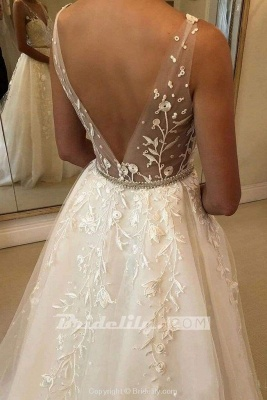 Chicloth Romantic V Neck Beach with Lace Appliques A Line Wedding Dress_3